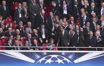 JSG. Lisbon (Portugal), 24/05/2014.- (front row, L-R) Spanish Prime Minister Mariano Rajoy, Portuguese President Anibal Cavaco Silva, UEFA President Michel Platini, Spanish King Juan Carlos and Queen Sofia sit on the tribune before the UEFA Champions League final between Real Madrid and Atletico Madrid at Luz Stadium in Lisbon, Portugal, 24 May 2014. (Lisboa, Liga de Campeones) EFE/EPA/HUGO DELGADO
